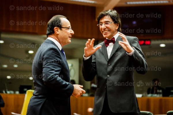 Hollande and Di Rupo at 2nd day of the  European Summit