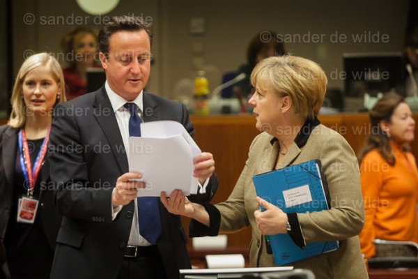Merkel and Cameron at 2nd day of the  European Summit